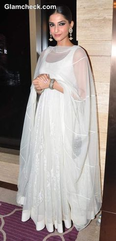 Sonam Kapoor in White Anarkali Suit 2013