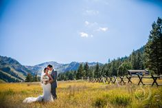Meadows and mountains make for a perfect wedding day photo backdrop. Summer wedding at Squaw Valley.