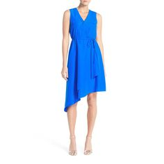 Donna Ricco Asymmetrical Crepe Wrap Dress