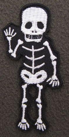 WAVING SKELETON Iron On Patch Emo Goth Rock Punk