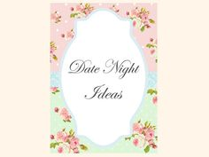 Date Night idea card Date ideas card date by MagicalPrintable