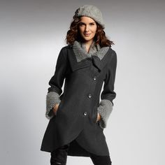 #INDIGENOUS - super soft boiled alpaca winter coat with contrasting knit detailing.