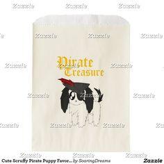 Cute Scruffy Pirate Puppy Favor Bag