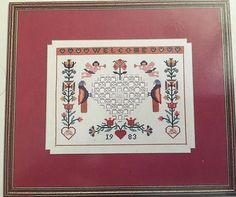 The Elegant Needle: Cross stitch combined with hardanger embroidery Kathie's Krosstitch Book #1 1984 Black/white charts Contents include: - The Welcoming Hearts Fraktur (176Wx143H) - Holly Wreath Pillow (168Wx168H) - Appliqué Quilt Cut-Outs (221Wx237H) - The Hospitality Sampler