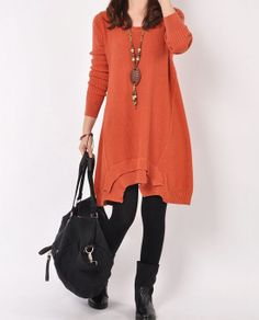 Orange cotton sweater /sweater dress /cotton by originalstyleshop, $58.90