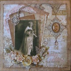 Hedy's Wedding, 1914 ~ Gorgeous heritage bridal page with layered framing and dimensional flower and jewelry accents.
