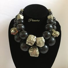 Bold big chunky handmade statement necklace, Huge Horn & Pyrite necklace, One of a kind Cool jewelry by piaceredesign on Etsy
