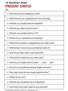English Grammar Discussion Practice Present Simple, 16 question strips, http://www.allthingsgrammar.com/present-simple.html