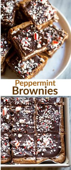 Peppermint Brownies are chocolate brownies with a peppermint frosting and chocolate glaze. They are everyone s favorite Christmas brownies. via betrfromscratch Easy Cookie Recipes, Best Dessert Recipes, Sweet Desserts, Brownie Recipes, Delicious Desserts, Yummy Food, Bar Recipes, Family Recipes, Tasty