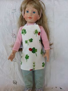 Doll Apron Shamrocks Lady Bugs American Girl Wine Bottle Cover Soap Bottle Cover Hostess Gift St Patrick Day Luck of the Irish Arvilla Ruby