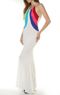 #White Tie Open Back Halter Neck Sleeveless Long #Maxi #Dress $27.95