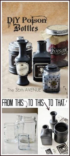 Botellas de veneno para decorar en Halloween - DIY Poison Bottles. Cute Halloween decor idea! http://www.the36thavenue.com/diy-halloween-poison-bottles/#_a5y_p=4298927