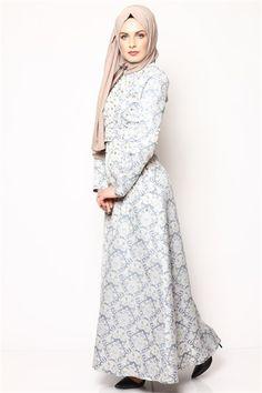 Tesettür Elbise - Mavi 6032