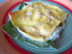 Raviolo aperto con melanzane ed erba cipollina