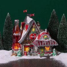 Coca Cola Store, Coca Cola Ad, World Of Coca Cola, Coca Cola Bottles, Pepsi, Christmas Village Houses, Christmas Village Display, Christmas Villages, Halloween Village