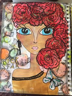 With roses in her hair. Art journal page. by mzqtz Tanya S