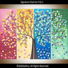"""Art painting Landscape painting four seasons tree wall decor home decor Wallart """"365 Days of Hppiness"""" by qiqigallery - Ready To Hang"""