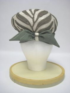 1960's White Woven with Brown Embroidered Vines with Sage Green Satin Ribbon