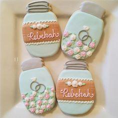"Becky Bakes Cupcakery on Instagram: ""Happy Bridal Shower to one of my best friends @bekkeller!! #masonjar #masonjarcookies #lace #burlap #decoratedcookies #customcookies #sugarcookies #bridalshower #bridalshowerfavors #royalicing #sugarart #beckybakescupcakery"""