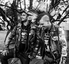 Two male punks, mohawk, punk jacket