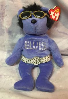 Ty Elvis Beanie Hawaii Bear Beanie Baby Stuffed Animal Plush Toy with Tags #Ty
