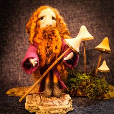 Red headed forest dweller collecting his mushrooms for supper, available at lomahsee.com http://www.lomahsee.com/product/needle-felted-forriger/ #wizard #foriging #mushroomcollecting #mushroomcollector #mushroomcollecting #fungi #funghicollection #handmadeisbetter #handmade #craft #gifts #needlefelting #characters