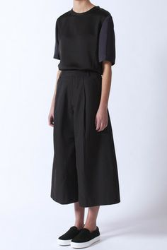 Black Pleat Culotte by Folk. Celine Skates.