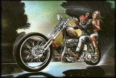 David Mann art: a motorcycle gang prospect pays a price for earning the gang colors -- mustard, ketchup and Budweiser! Description from pinterest.com. I searched for this on bing.com/images