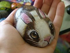 Painted stones - brown and white bunny