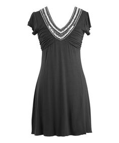Take a look at this Black Embellished Short-Sleeve Dress by Peppermint Bay on #zulily today! #ostomy #ostomate