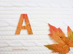 Uppercase letter A with glitter leaf and sweater knit. #fall #autumn #alphabet #typography #initial #monogram #font   maple leaf