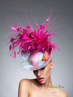 Hot Pink Disk Bird Fascinator, Hot Pink headpiece, Printed Disk fascinator, Hot Pink Derby Fascinator , Couture Bird headpiece