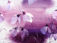 Purple abstract oil painting for wall decor. Flower motifs of light colors and texture will complement girls room in boho-chic or provence interior style.