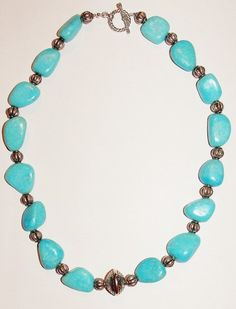 Handmade Beaded Necklace Chunky Turquoise       by SCLadyDiJewelry, $24.95