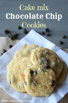 Chocolate Chip Cookies Recipe - made with a cake mix. So good... no one will know!