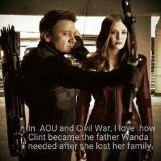 """""""There no use for me anymore. I have no one left here anymore Clint. My only family left is now dead."""" *tears filling her eyes* """"Wanda, I'm here for you. I'll be your father now. You have me and all of the avengers. All of us! I promise I'll be here for you the whole time thought."""" *hugs Wanda* """"Thank you Clint."""" *sniffling* """"You're welcome Wanda, you're welcome."""""""