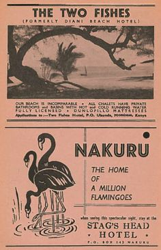 The Two Fishes & Stag's Head Hotel Kenya Ad 1960