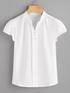 SheIn offers Cap Sleeve Mandarin Collar Blouse & more to fit your fashionable needs. Stitch Fix Outfits, Apron Dress, Collar Styles, Collar Blouse, Blouse Online, White Shirts, Jeans Dress, Mandarin Collar, Shirt Blouses