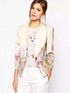 Enlishop Womens Fashion Vintage Floral Print Slim Casual Blazer Suit Jacket Floral XL ** You can find more details by visiting the image link. Blazers For Women, Jackets For Women, Clothes For Women, Women Blazer, Trajes Business Casual, Moda Outfits, Floral Blazer, Floral Jacket, Pink Jacket