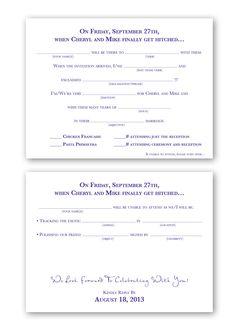 Mad Libs Wedding Reply Card