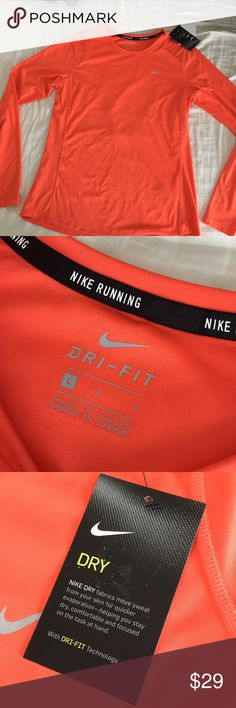 NIKE Running Top with UV protection +Stay Dry tech BRANd NEW With TAGS this Stay-Dry technology fabric moves sweat from your skin for quicker evaporation, helping you stay dry, comfortable and focused on the task on hand. Fabric contains UV protection against those harmful solar rays. Bundle 2+ items for additional savings and to pay just one shipping charge. Reasonable offers considered but no lowballing please. No TRADES. Size: Large Nike Tops