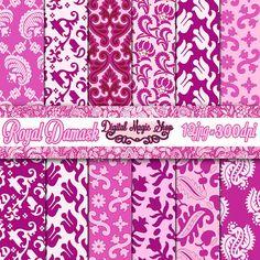 Digital Paper LILAC ROYAL DAMASK  12 pcs 300dpi paper crafts by DigitalMagicShop, $2.50