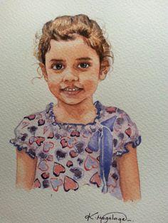 WATERART* Original Watercolor custom portrait