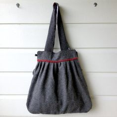 Grey vintage army blanket statement bag - with cotton rose and polka dot lining. $52.00