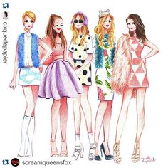 Loving this sketch of The Chanels of @screamqueensfox, especially @arianagrande in our Overlay tutu!  #regram from @cirquedepapier!  ・・・ The Chanels from #ScreamQueens  I loved every outfits they wore on this show! #cirquedepapier #fashionillustration #chaneloberlin #tutumoi #tutu
