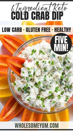 Easy Cold Crab Dip Recipe with Cream Cheese - 5 Minutes - Learn how to make crab dip! This EASY cold crab dip recipe with cream cheese (crab meat dip) needs just 5 minutes 6 ingredients. Crab Dip Recipes, Cream Cheese Recipes, Lunch Recipes, Vegetable Recipes, Seafood Recipes, Appetizer Recipes, Dinner Recipes, Cooking Recipes, Healthy Recipes