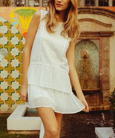 Take a look at the White Embroidered Sleeveless Dress on #zulily today!