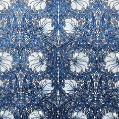 Offered is one yard of William Morris Pimpernel Upholstery velvet in brilliant blue. Small scale, approximately flowers. Thick White backing for.