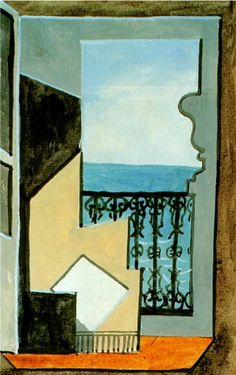 """Pablo Picasso - """"Balcony with sea view"""". 1919"""