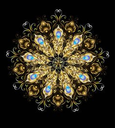 Gold peacock feather mandala, decorated with turquoise on a black background.  Photo
